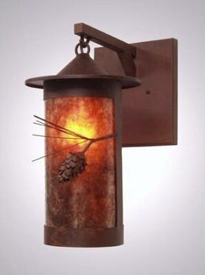 Mica Aitken 1-Light Outdoor Wall Lantern Loon Peak Finish: Old Iron, Shade Type: Amber Mica, Wet Location: Yes