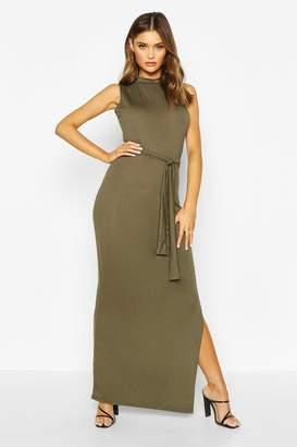 boohoo High Neck Belted Sleeveless Maxi Dress