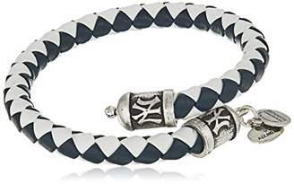 Alex and Ani Unisex New York Yankees Braided Leather Rafaelian Silver-Tone Wrap Bracelet