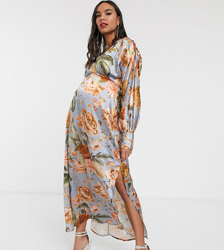 Hope & Ivy Maternity maxi tea dress in tapestry floral