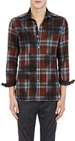 Lanvin Men's Plaid Shirt-BROWN, BLUE, NO COLOR