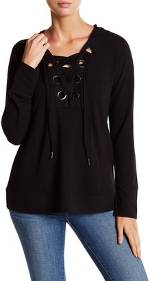 Cable & Gauge Grommet Lace-Up Hoodie