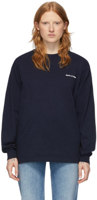 Sporty and Rich Navy Fun Logo Long Sleeve T-Shirt