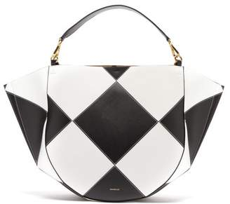 Wandler Mia Large Chequered Leather Tote Bag - Womens - Black Multi