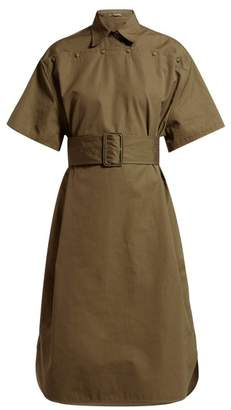 Bottega Veneta Belted Cotton-poplin Shirtdress - Womens - Khaki