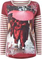 Oui Geisha print stripe top