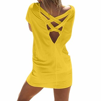 pitashe Women's T-Shirt Dress Casual Cross Back Design Short Sleeve Beach Tunic T Shirt Dress with Pockets Summer Holiday Plus Size Solid Loose Mini Dress Black