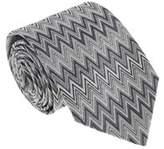 Missoni U4914 Silver/gray Chevron 100% Silk Tie.