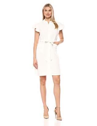 Calvin Klein Women's Eyelet Shirt Dress with Flutter Sleeve and Self Belt