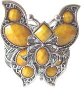Gifts by Lulee Huge and beautiful 3D Butterfly Cuff bracelet made of Tibetan silver and intricate arrangement of Shiny stones yellow