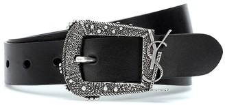 Saint Laurent Cheyenne Monogram leather belt