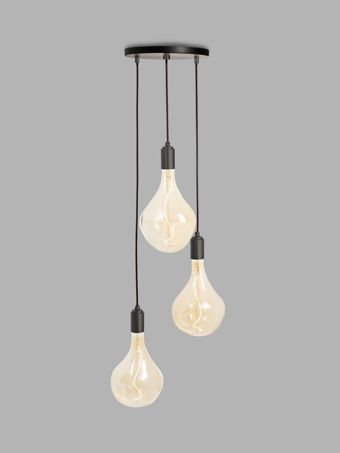 Tala Graphite Triple Pendant Cluster Ceiling Light with Voronoi II 3W ES LED Dimmable Tinted Bulbs