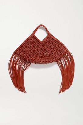 Yuzefi Basket Large Fringed Woven Leather Tote - Tan