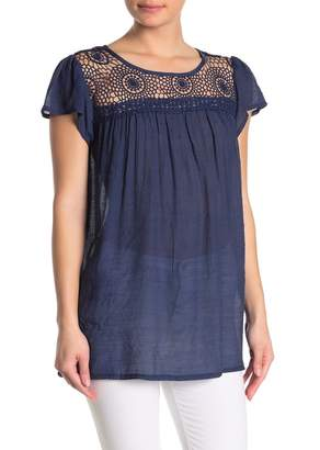 Forgotten Grace Crochet Trim Short Sleeve Blouse