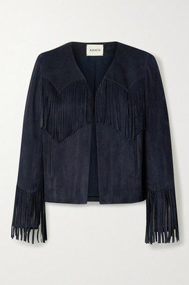 KHAITE Gracie Cropped Fringed Suede Jacket - Navy