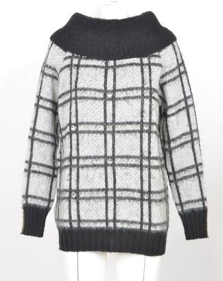 Pinko White&Black Wool Blend Women's Long Sweater