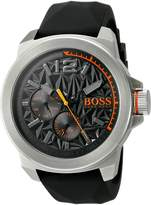 BOSS ORANGE Men's 'New YORK' Quartz Stainless Steel and Silicone Casual Watch, Color: (Model: 1513346)