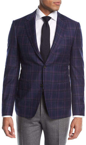 Canali Plaid Wool Two-Button Sport Coat