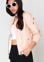 Missy Empire Jia Pink Faux Leather Bomber Jacket