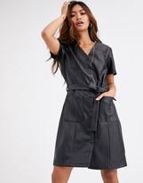 Pimkie faux leather mini dress in black