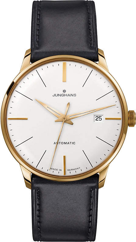 Junghans 027/7312.00 meister classic leather and gold-plated watch