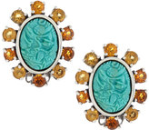 Stephen Dweck Oval Carved Turquoise & Citrine Cluster Clip Earrings