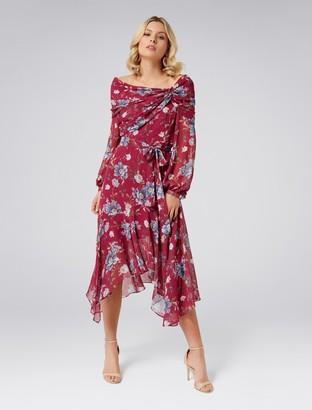 Forever New Isla Asymmetric Hem Dress - RED VINTAGE FLORAL - 6