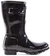 Hunter Short Gloss Boot in Black. - size 10 (also in 5,6,7,8,9)
