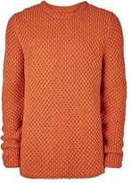 Topman LTD Orange Oversized Chunky Knit Sweater