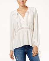 Jessica Simpson Crocheted Tie-Front Peasant Top
