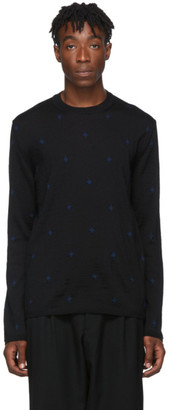 Comme des Garçons Homme Deux Navy Worsted Wool Sweater