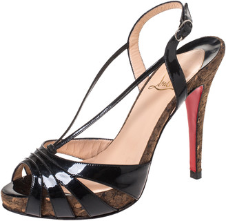 Christian Louboutin Black Patent Leather Activa Cork Sandals Size 38