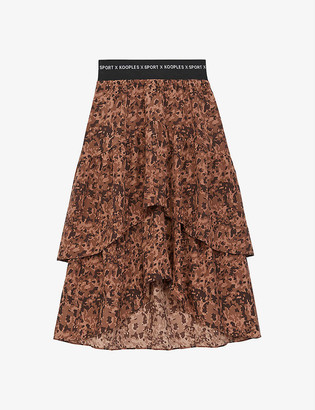 The Kooples Sport Graphic-print crepe midi skirt