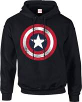 Marvel Avengers Assemble Captain America Distressed Shield Pullover Hoodie - Black