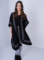 Missy Empire Merci Black And Grey Reversible Knitted Cape