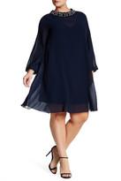 Eliza J Chiffon Overlay Fitted Dress (Plus Size)