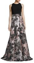 Carmen Marc Valvo Embellished Jacquard A-Line Gown