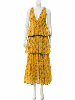 Rhode Resort Floral Print Long Dress w/ Tags Yellow Floral Print Long Dress w/ Tags