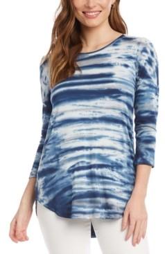 Karen Kane Tie-Dyed 3/4-Sleeve Top