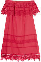 Sea Crochet-paneled Cotton-voile Mini Dress - Fuchsia