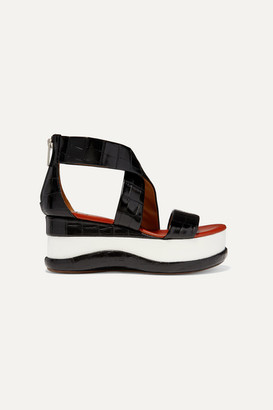Chloé Wave Croc-effect Leather Platform Sandals - Black