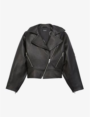 The Kooples Cropped leather biker jacket