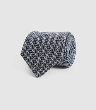Reiss Weir - Silk Micro Geo Tie in Navy