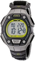 Timex Women's TW5K89800 Ironman Classic 30 Mid-Size Black/Silver-Tone/Lime Fast Wrap Velcro Strap Watch
