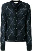 Marni semi-sheer diamond check cardigan