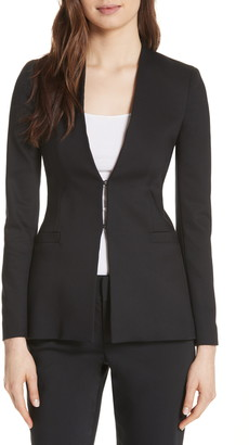 Alice + Olivia Jerri Long Open Front Collarless Blazer