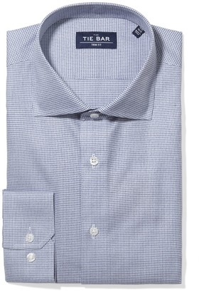 Tie Bar Petite Houndstooth Navy Non-Iron Dress Shirt