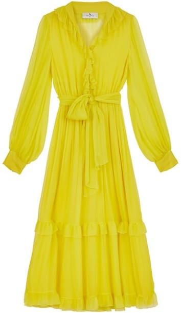 Etro Long-Sleeve Belted Silk Chiffon Dress