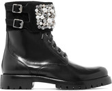 Rene Caovilla Embellished Leather Ankle Boots - Black