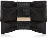 Jimmy Choo CHANDRA/S Black Shimmer Suede Clutch Bag with Hotfix Crystal Bracelet